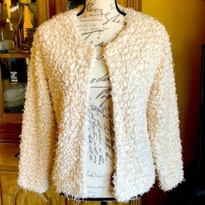 New H&M Fuzzy Jacket Coat White Cream Faux Fur